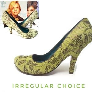 IRREGULAR CHOICE Green Floral Pumps High Heels
